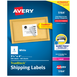 "Avery® TrueBlock® White Laser Shipping Labels, 5164, 3 1/3"" x 4"", Pack Of 600"