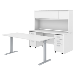 """Bush Business Furniture Studio C 72""""W x 30""""D Height Adjustable Standing Desk, Credenza with Hutch and Mobile File Cabinets, White, Standard Delivery"""