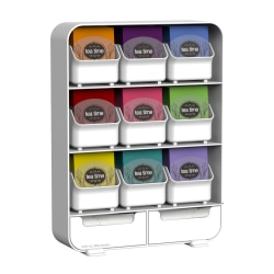 """Mind Reader Baggy 9-Drawer Tea Bag And Accessory Holder, 13 1/8""""H x 10 1/4""""W x 4 3/8""""D, White"""