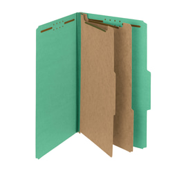 Smead® Pressboard Classification Folders, 2 Dividers, Legal Size, 100% Recycled, Green, Pack Of 5