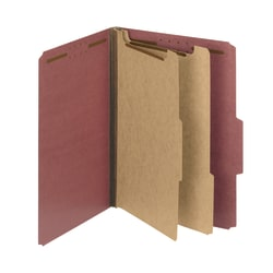Smead® Pressboard Classification Folders, 2 Dividers, Letter Size, 100% Recycled, Red/Brown, Pack Of 5