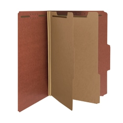 Smead® Pressboard Classification Folders, 2 Dividers, Legal Size, 100% Recycled, Red/Brown, Pack Of 5