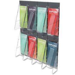 "Deflect-O® 8-Pocket Wall Rack, Leaflet Holder, 23 1/2""H x 18 1/4""W x 2 7/8""D, Clear"