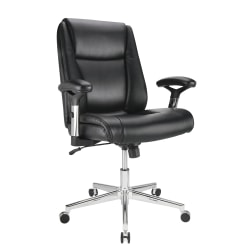 Realspace® Densey Bonded Leather Mid-Back Manager's Chair, Black/Silver