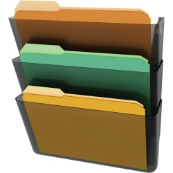 deflect-o Stackable Wall File Pocket, 3 Pack, Smoke