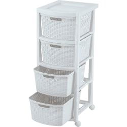 "Rimax Plastic 4-Drawer Rolling Storage Cart, 32 15/16"" x 13"" x 15 4/9"", White"