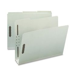 "Nature Saver 1/3-Cut Pressboard Fastener Folders, Letter Size, 3"" Expansion, 75% Recycled Gray Green, Box Of 25"