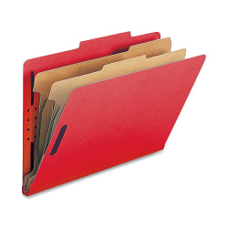 Nature Saver 2-Divider Classification Folders, Legal Size, Bright Red, Box Of 10