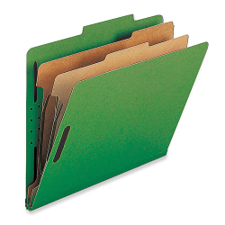 Nature Saver 2-Divider Classification Folders, Legal Size, Green, Box Of 10