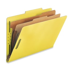 Nature Saver 2-Divider Classification Folders, Legal Size, Yellow, Box Of 10