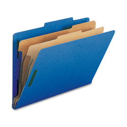 Nature Saver 2-Divider Classification Folders, Legal Size, Dark Blue, Box Of 10