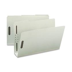 "Nature Saver 1/3-Cut Pressboard Fastener Folders, Legal Size, 3"" Expansion, 75% Recycled, Gray Green, Box Of 25"