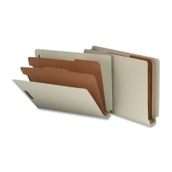 Nature Saver 2-Divider Classification Folders, Letter Size, 100% Recycled, Gray/Green, Box Of 10