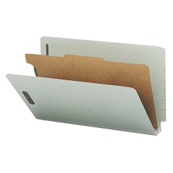 Nature Saver Standard Divider Classification Folders, Legal Size, 1 Divider, 100% Recycled, Gray/Green, Box Of 10