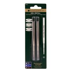 Monteverde® Capless Gel Refills For Montblanc® Ballpoint Pens, Medium Point, 0.7 mm, Black, Pack Of 2