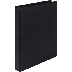 "Samsill Earth's Choice Label Holder D-ring Binder - 1"" Binder Capacity - 225 Sheet Capacity - 3 x D-Ring Fastener(s) - 2 Internal Pocket(s) - Black - Recycled"