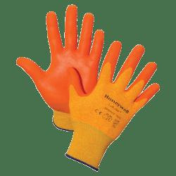 Honeywell Tuff-Glo Hi-Viz Safety Gloves - X-Large Size - Nylon Liner, Nitrile Palm, Nitrile Fingertip - Orange - Cut Resistant, Abrasion Resistant, Puncture Resistant, Durable, Lightweight - For Construction, Manufacturing, Transportation - 2 / Pair