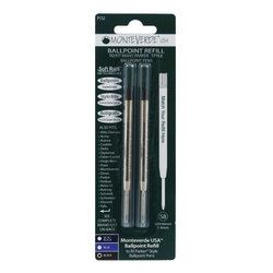 Monteverde® Soft Roll Parker® Style Ballpoint Refills, Broad Point, 0.9 mm, Black, Pack Of 2