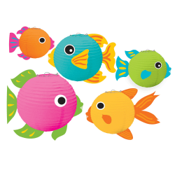 "Amscan Summer Luau Fish Lanterns, 5-3/4""H x 7-3/4""W x 9-1/2""D, Multicolor, Pack Of 5 Lanterns"