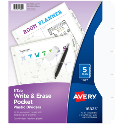 "Avery® Write And Erase Plastic Divider, 5 Tabs, 9 1/4"" x 11 1/8"", White"