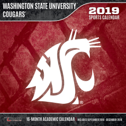 """Turner Sports Monthly Wall Calendar, 12"""" x 12"""", Washington State Cougars, January to December 2019"""