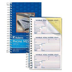 """Adams® Phone Message Book, 8 1/2"""" x 5 1/4"""" , 100 Pages, White/Canary Yellow"""