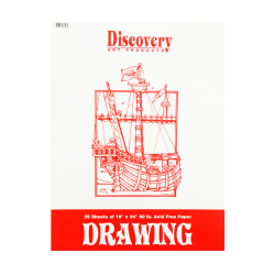 """Discovery Drawing Pads, 18"""" x 24"""", 25 Sheets, Pack Of 3"""