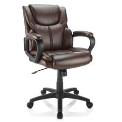 Brenton Studio® Mayhart Vinyl Mid-Back Chair, Brown/Black