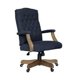 Boss Button-Tufted High-Back Chair, Navy Denim/Blue Linen
