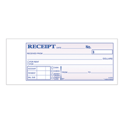 "Adams® Money/Rent Receipt Books, 7 3/16"" x 2 3/4"", 3-Part, Carbonless, 50 Set Book"