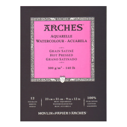 """Arches® Watercolor Pads, 9"""" x 12"""", Hot-Pressed, 140 Lb, White, Pack Of 2"""