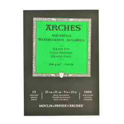 """Arches® Watercolor Pads, 9"""" x 12"""", Cold-Pressed, 140 Lb, White, Pack Of 2"""