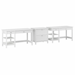Bush Furniture Broadview 2-Person Desk Set With Lateral File Cabinet, Pure White, Standard Delivery