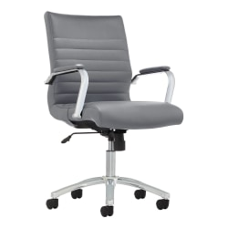 Realspace® Modern Comfort Winsley Bonded Leather Mid-Back Manager's Chair, Gray/Chrome