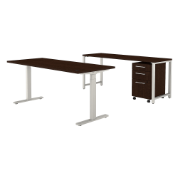 "Bush Business Furniture 400 Series 72""W x 30""D Height-Adjustable Standing Desk With Credenza And Drawers, Mocha Cherry, Premium Installation"