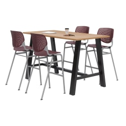 "KFI Midtown Bistro Table With 4 Stacking Chairs, 41""H x 36""W x 72""D, Kensington Maple/Burgundy"