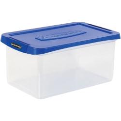 "Bankers Box® Heavy-Duty Plastic Storage Bin, 20"" Letter, 10-3/8"" x 14-1/4"", TAA Compliant, Clear/Blue, Pack of 1"