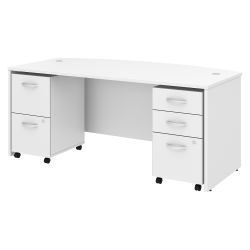 """Bush Business Furniture Studio C Bow Front Desk with Mobile File Cabinets, 72""""W x 36""""D, White, Standard Delivery"""