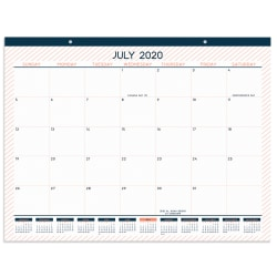 "Office Depot® Monthly Academic Desk Calendar, 22"" x 17"", Cantaloupe/Navy, July 2020 To June 2021, ODUS1933-026"