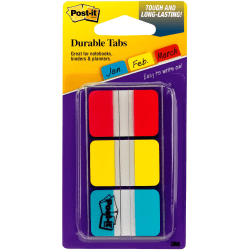 """Post-it® Durable Tabs - 36 Write-on Tab(s) - 1.50"""" Tab Height x 1"""" Tab Width - Red, Blue, Yellow Tab(s) - 1 Pack"""