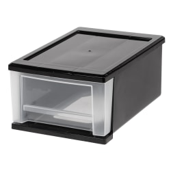 Office Depot® Brand Small Stacking Drawer, Black/Clear