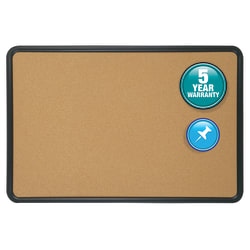 "Quartet® Contour® Cork Bulletin Board With Black Plastic Frame, 36"" x 48"""
