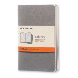 """Moleskine Cahier Journals, 3-1/2"""" x 5-1/2"""", Faint Ruled, 64 Pages (32 Sheets), Pebble Gray, Set Of 3 Journals"""