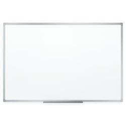 """Mead® Melamine Non-Magnetic Dry-Erase Whiteboard With Marker Tray, 72"""" x 48"""", Aluminum Frame With Silver Finish"""
