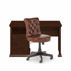 """Bush Furniture Yorktown 50""""W Home Office Desk And Chair Set, Antique Cherry, Standard Delivery"""