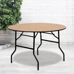 "Flash Furniture Round Wood Folding Banquet Table, 30-1/4""H x 48""W x 48""D, Natural/Black"