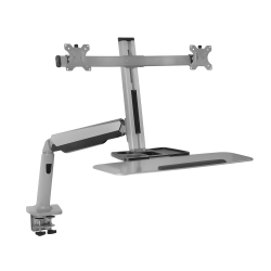 """Mount-It! MI-7904 Stand-Up Workstation With Dual-Monitor Mount, 23""""H x 36""""W x 7-1/2""""D, Silver"""