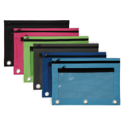 "Office Depot® Brand Pencil Pouch With Mesh Window, 7"" x 9 3/4"", Assorted Colors"