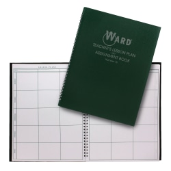 Ward 8-Period Teacher Plan Books, Green, Pack Of 4
