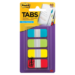 "Post-it® Durable Tabs, 5/8"" x 1 1/5"", Assorted Colors, 10 Flags Per Pad, Pack Of 4 Pads"